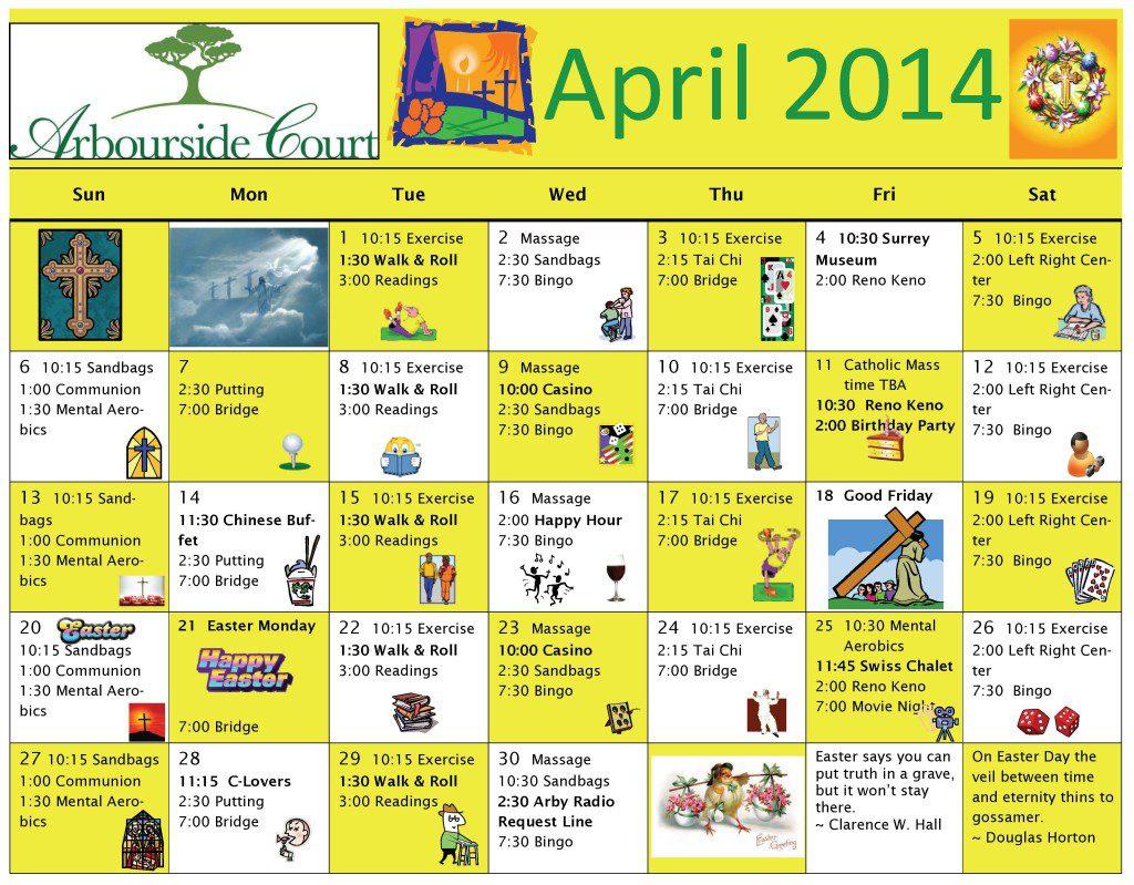 Calendar Ideas For April : April senior activity calendar party invitations ideas