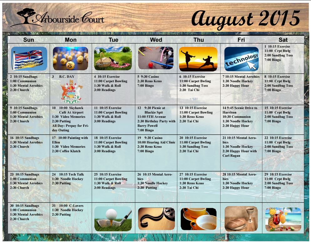August Acitivty Calendar  Arbourside Court Surrey