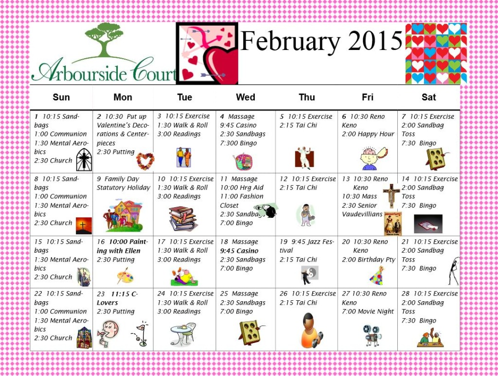 Arbourside Court Calendar Feb 2015