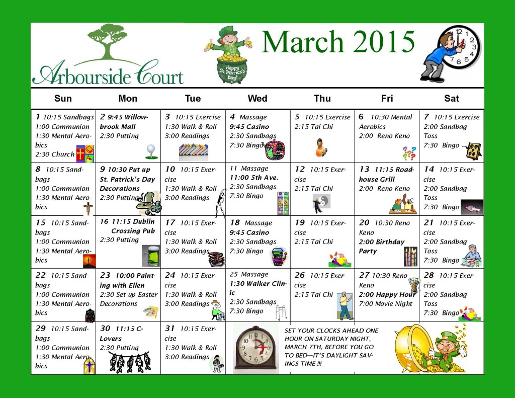 March 2015 Activity Calendar