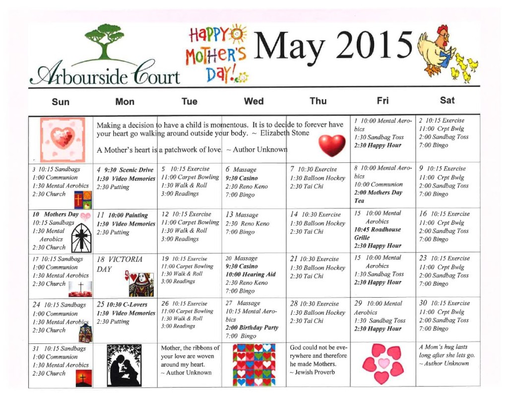 May Events at Arbourside Court