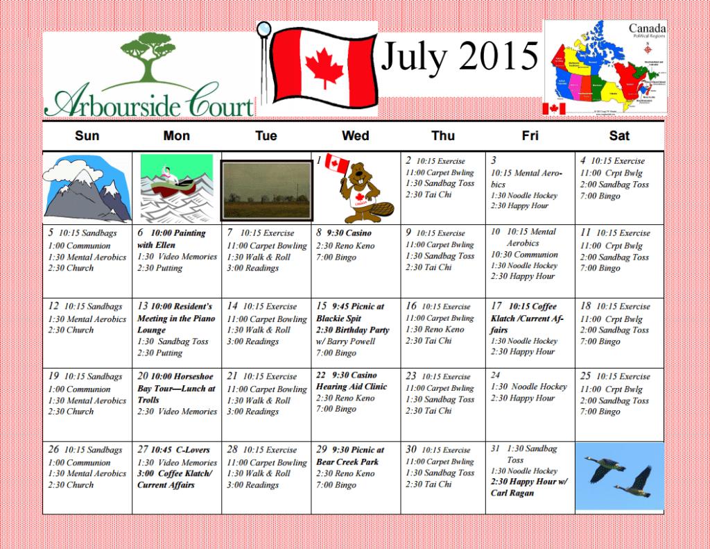 July 2015 Calendar of Arbourside Court Senior's Activities