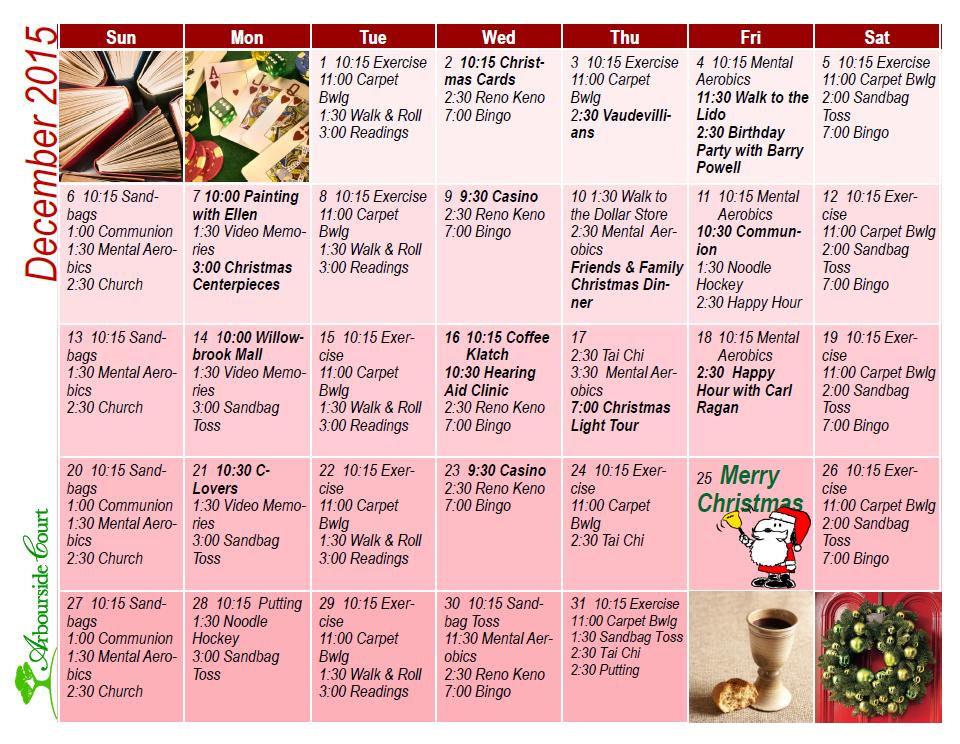 December Calendar of Activities at Arbourside