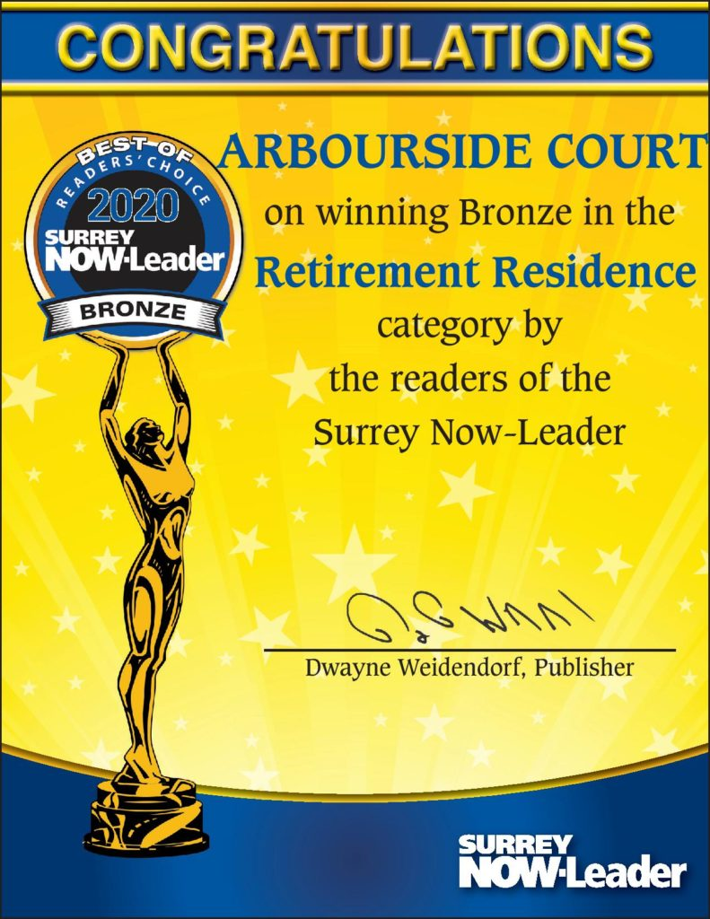 Best of Surrey - Readers Choice Award 2020 - Best Retirement Residence Arbourside Court.
