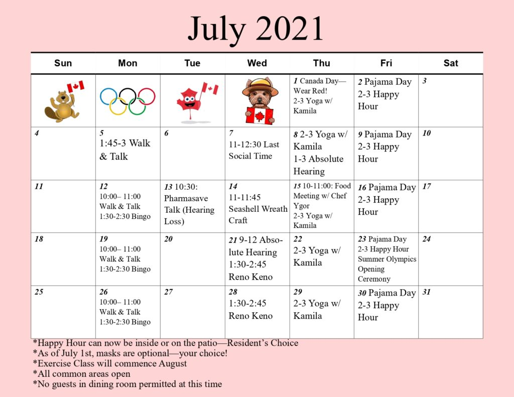 Activity Schedule July 2021 Arbourside Court