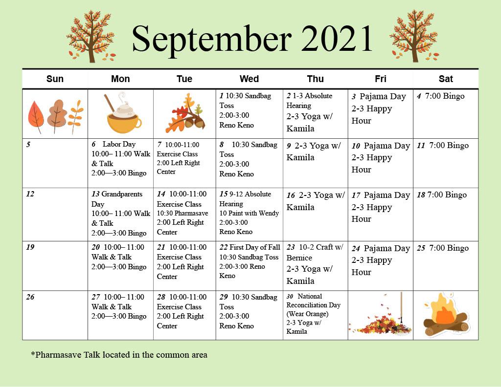 Abourside Court September 2021 Calendar of Activity